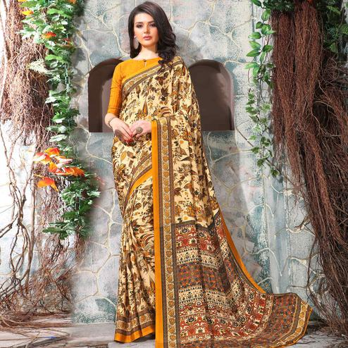 Staring Cream-Yellow Coloured Casual Wear Printed Crepe Saree