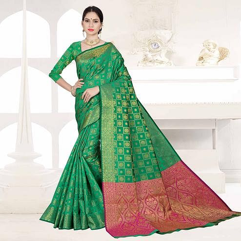 Flamboyant Green Colored Festive Wear Woven Silk Saree