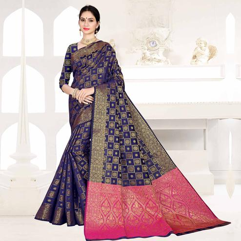 Pretty Navy Blue Colored Festive Wear Woven Silk Saree