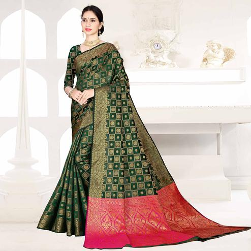 Alluring Dark Green Colored Festive Wear Woven Silk Saree