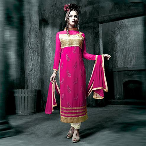 Pink High Neck Designer Suit