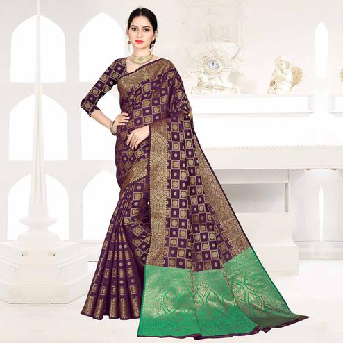 Sensational Purple Colored Festive Wear Woven Silk Saree