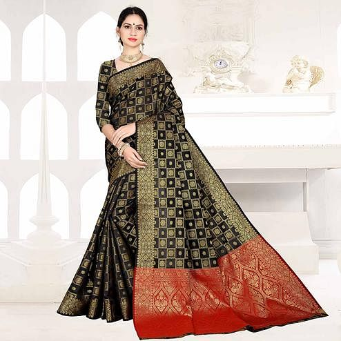 Flaunt Black Colored Festive Wear Woven Silk Saree