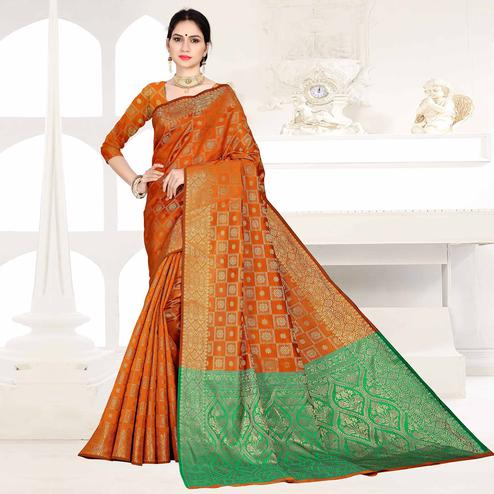 Stunning Orange Colored Festive Wear Woven Silk Saree