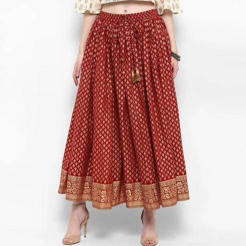 Ravishing Red Colored Partywear Foil Printed Cotton Skirt