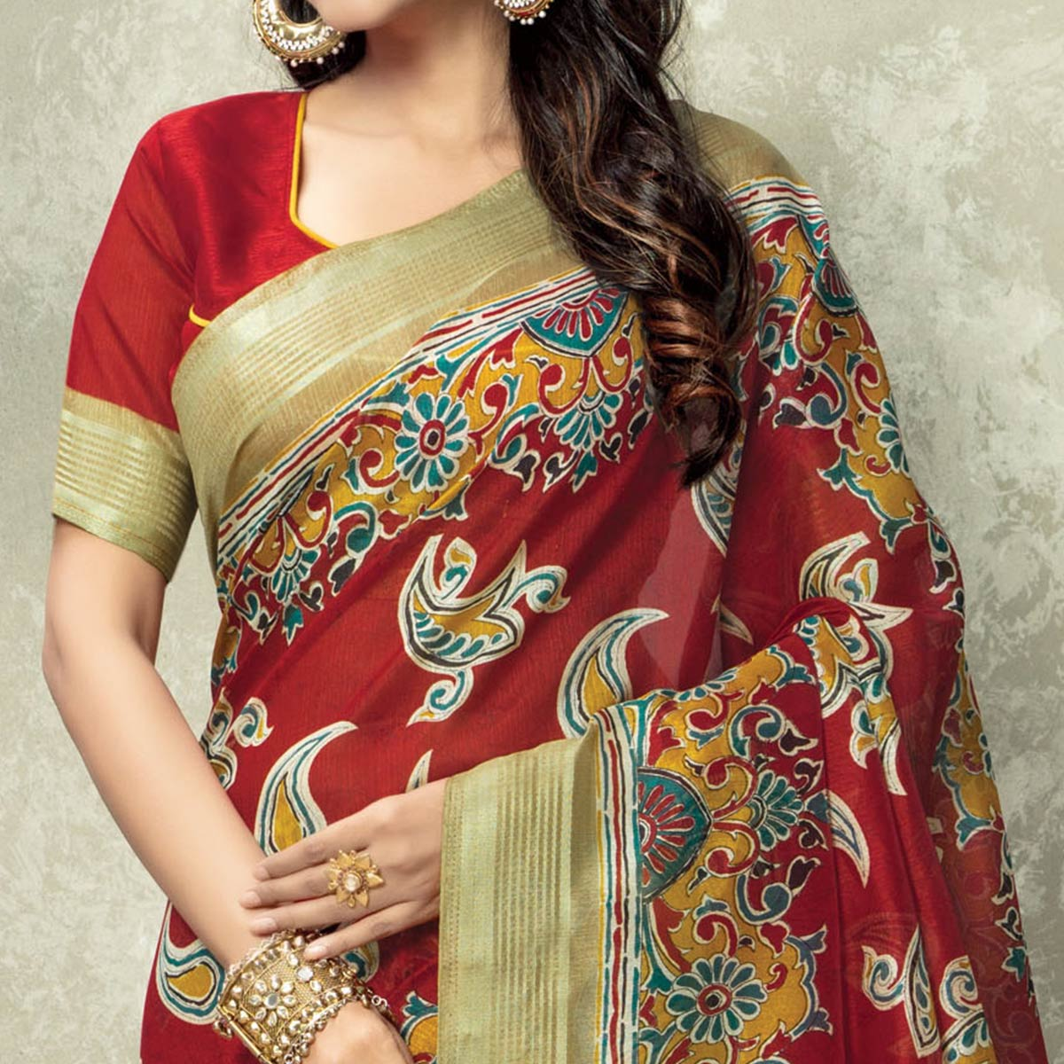 Glowing Red Colored Casual Kalamkari Printed Art Silk Saree