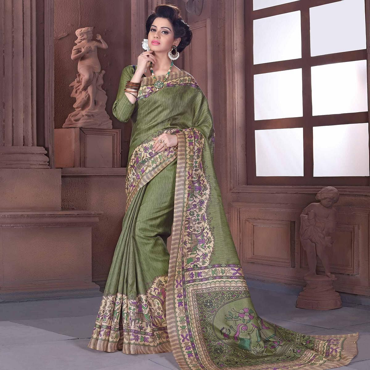 Exceptional Olive Green Colored Casual Madhubani Printed Cotton Silk Saree