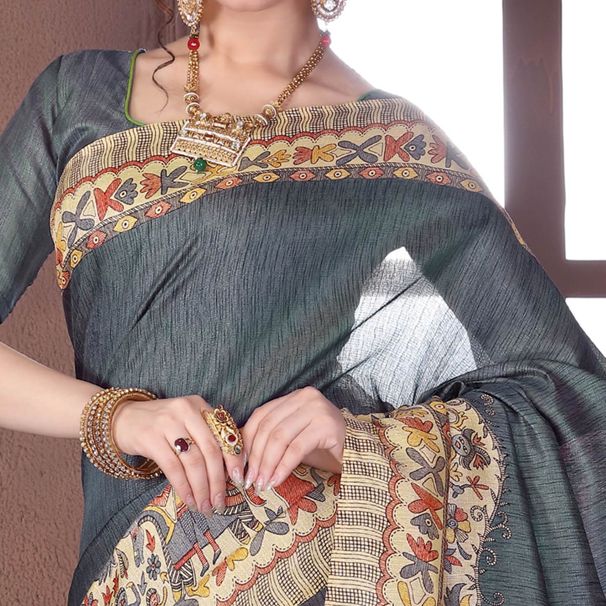 Gleaming Grey Colored Casual Madhubani Printed Cotton Silk Saree
