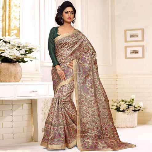 Mesmeric Beige-Green Colored Casual Madhubani Printed Cotton Silk Saree