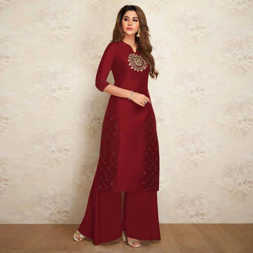 Intricate Maroon Colored Partywear Embroidered Pure Viscose Silk Kurti-Palazzo Set