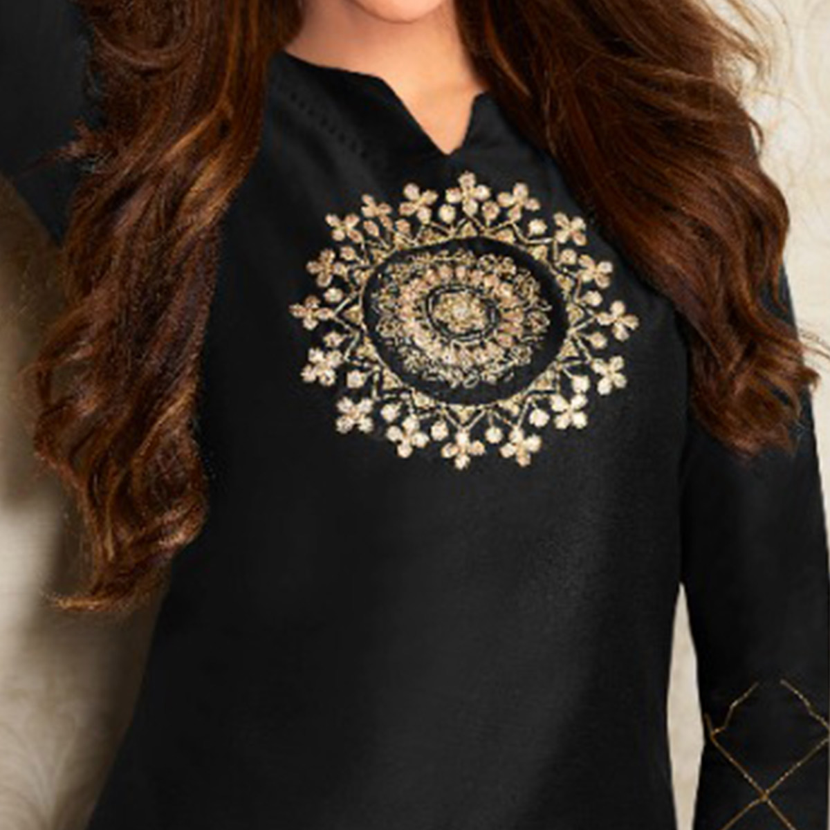 Arresting Black Colored Partywear Embroidered Pure Viscose Silk Kurti-Palazzo Set