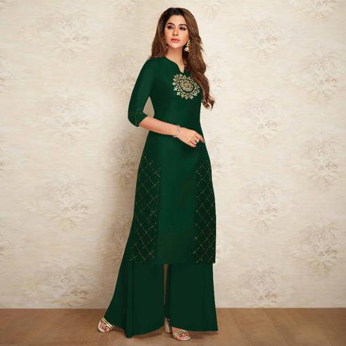 Desirable Green Colored Partywear Embroidered Pure Viscose Silk Kurti-Palazzo Set
