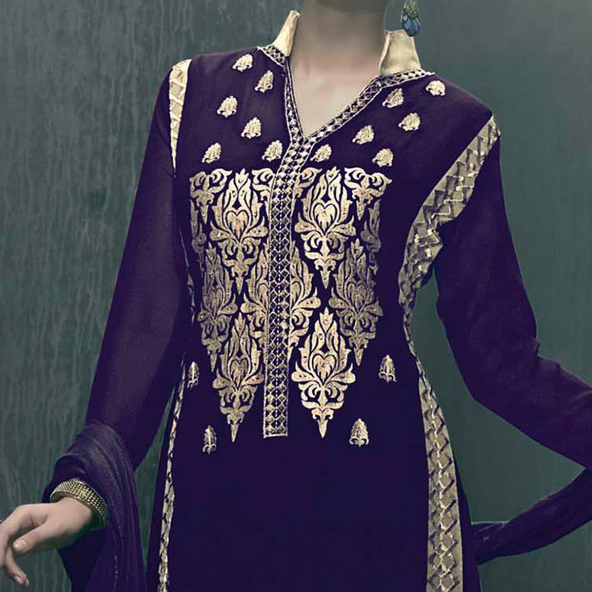 Purple Party Wear Georgette Suit