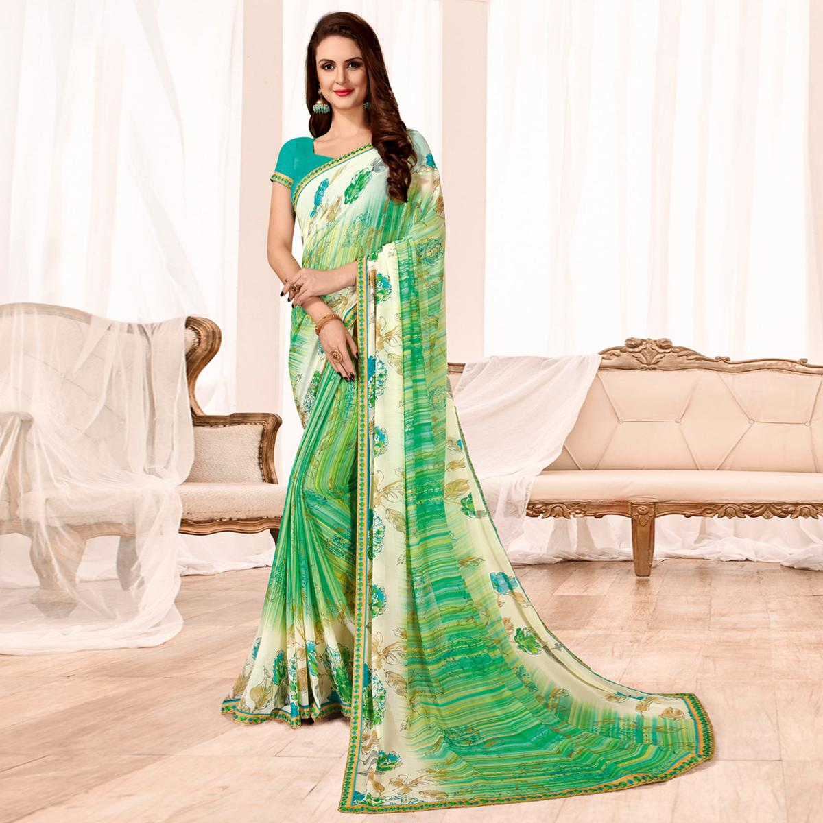 Lovely Green Colored Casual Wear Printed Georgette Saree