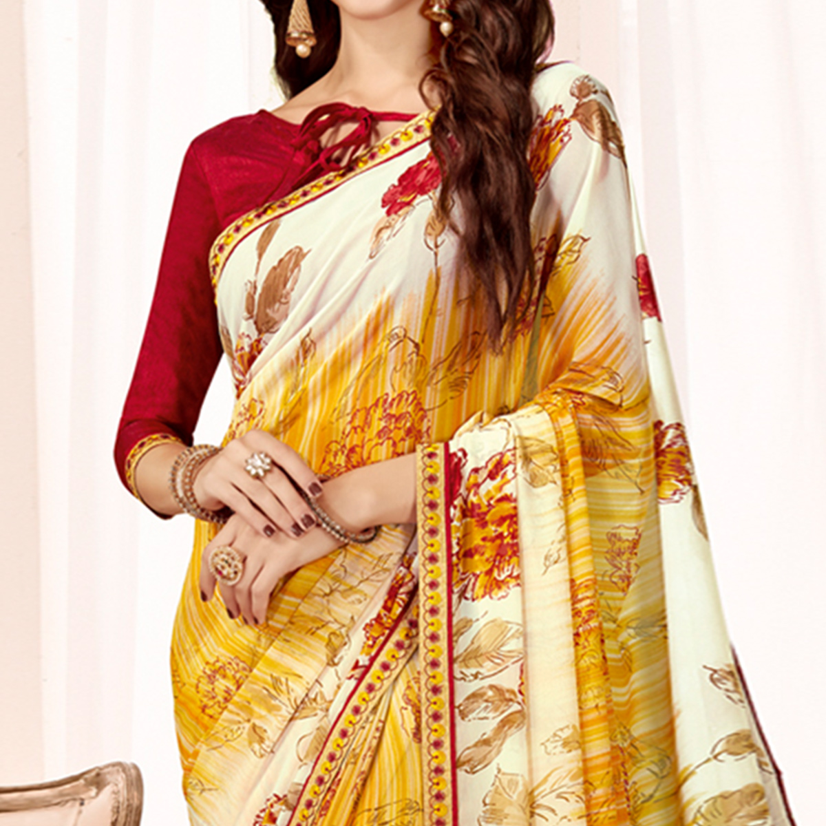 Majesty Yellow Colored Casual Wear Printed Georgette Saree