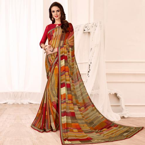 Impressive Multi Colored Casual Wear Printed Georgette Saree