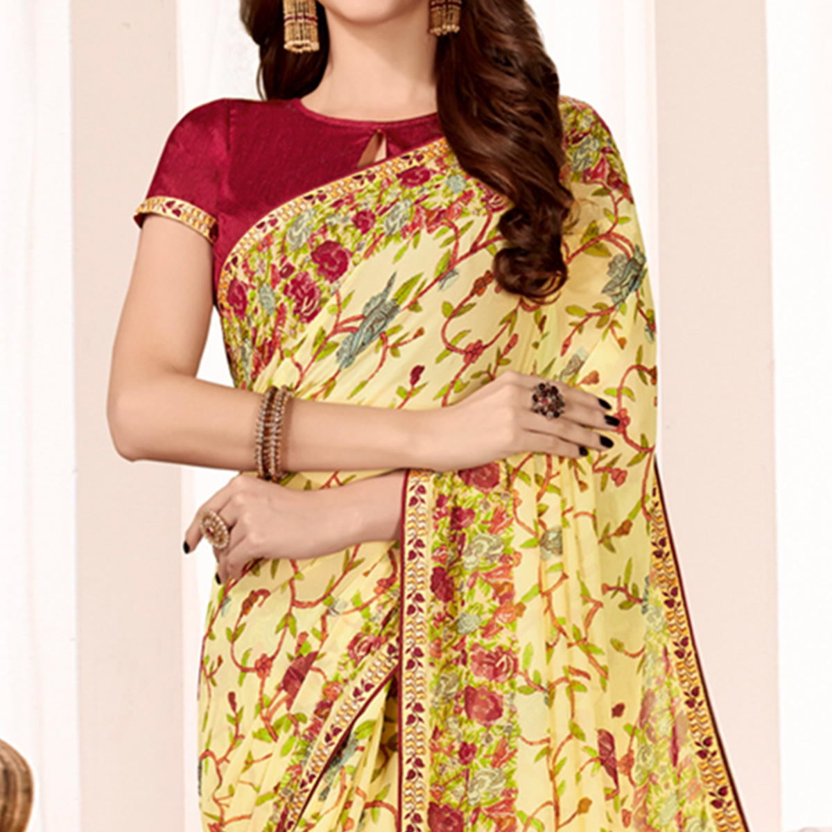 Gleaming Light Yellow Colored Casual Wear Printed Georgette Saree