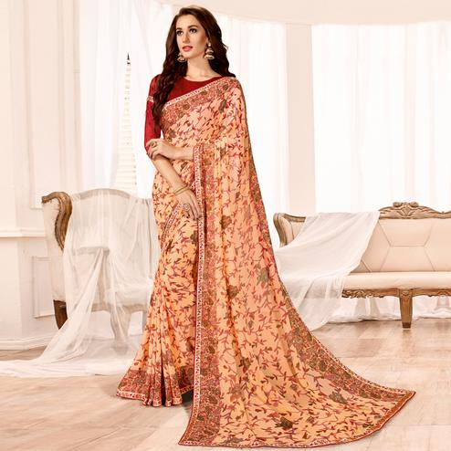 Unique Peach Colored Casual Wear Printed Georgette Saree