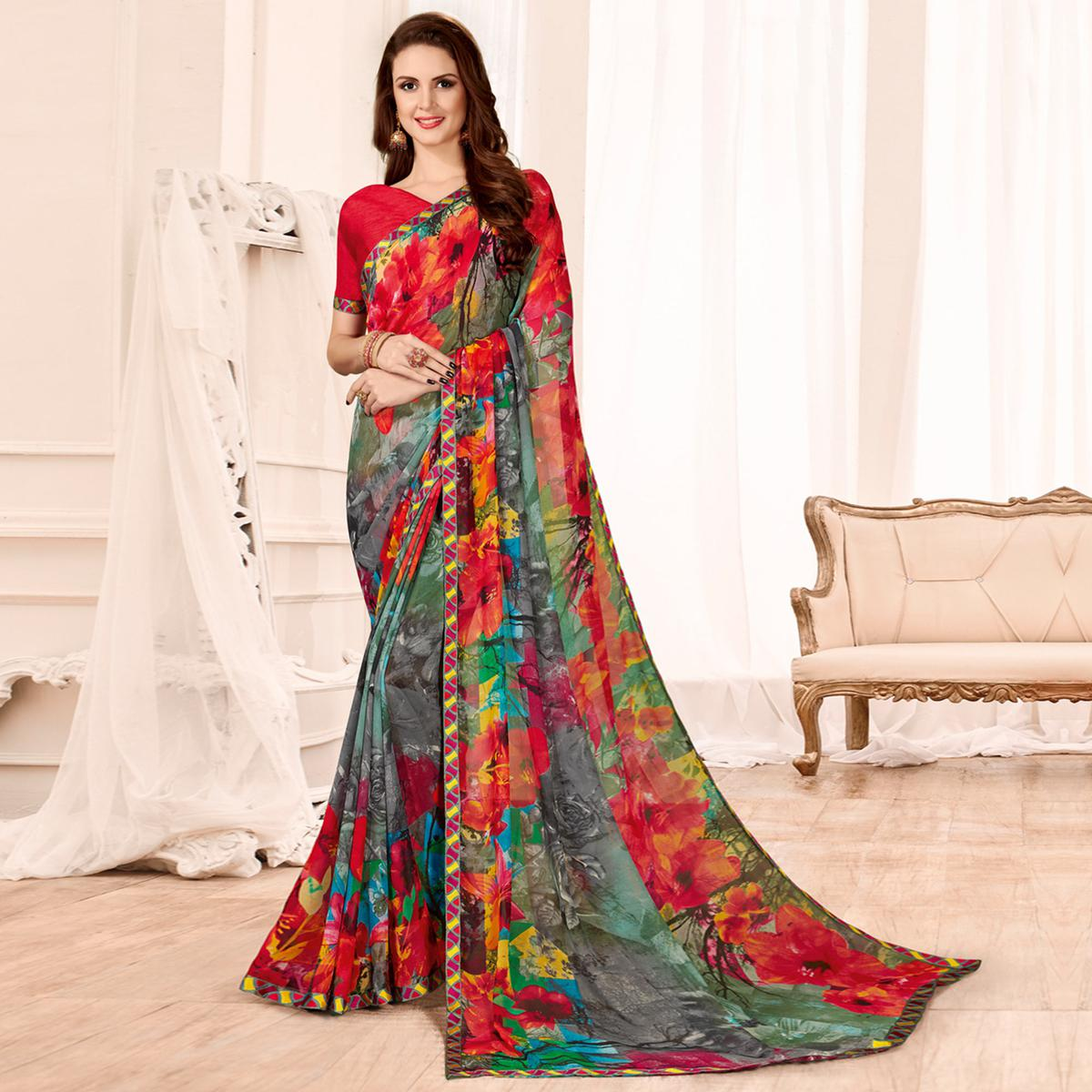 Refreshing Grey-Red Colored Casual Wear Printed Georgette Saree
