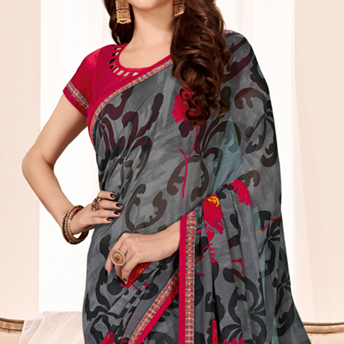 Blissful Grey Colored Casual Wear Printed Georgette Saree