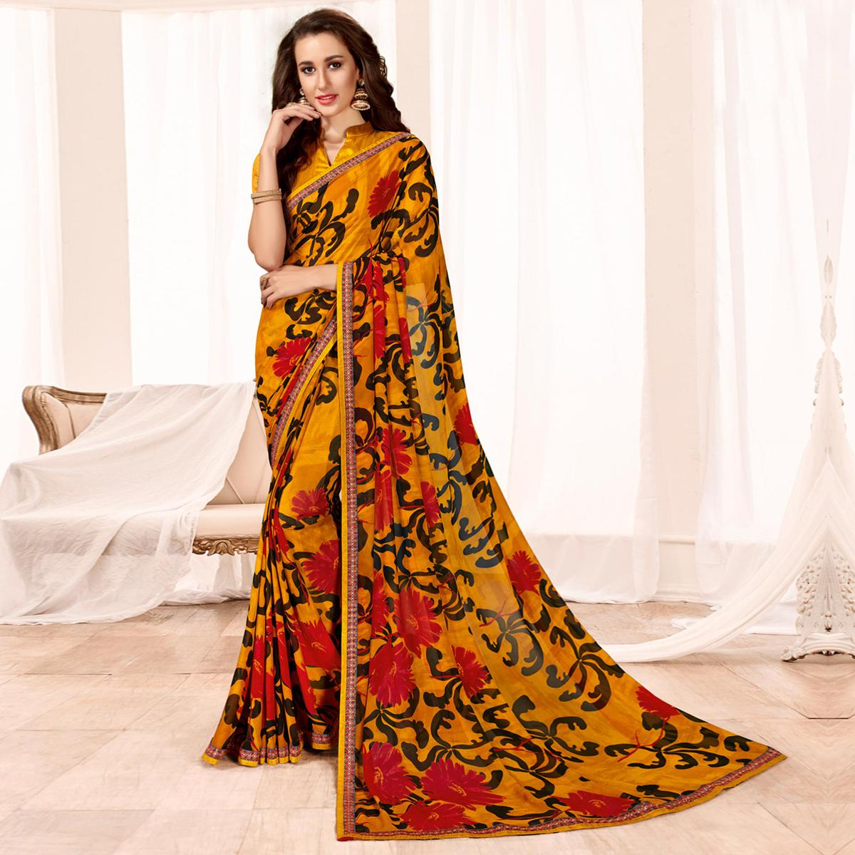 Ideal Yellow Colored Casual Wear Printed Georgette Saree