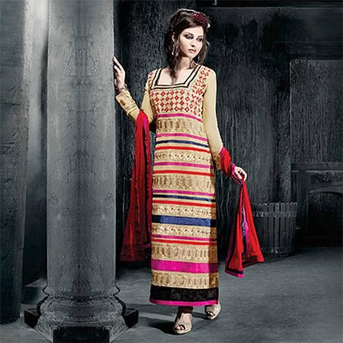 Cream Party Wear Salwar Suit