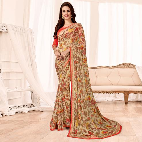 Glorious Beige Colored Casual Wear Printed Georgette Saree