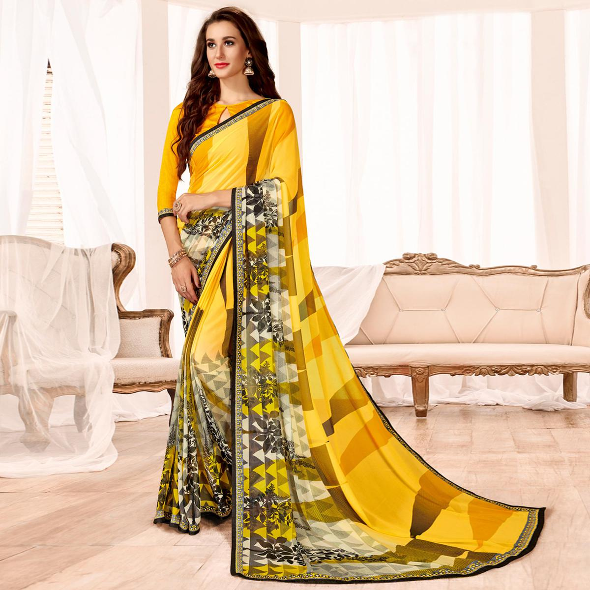 Attractive Yellow Colored Casual Wear Printed Georgette Saree