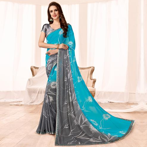 Graceful Sky Blue Colored Casual Wear Printed Georgette Saree