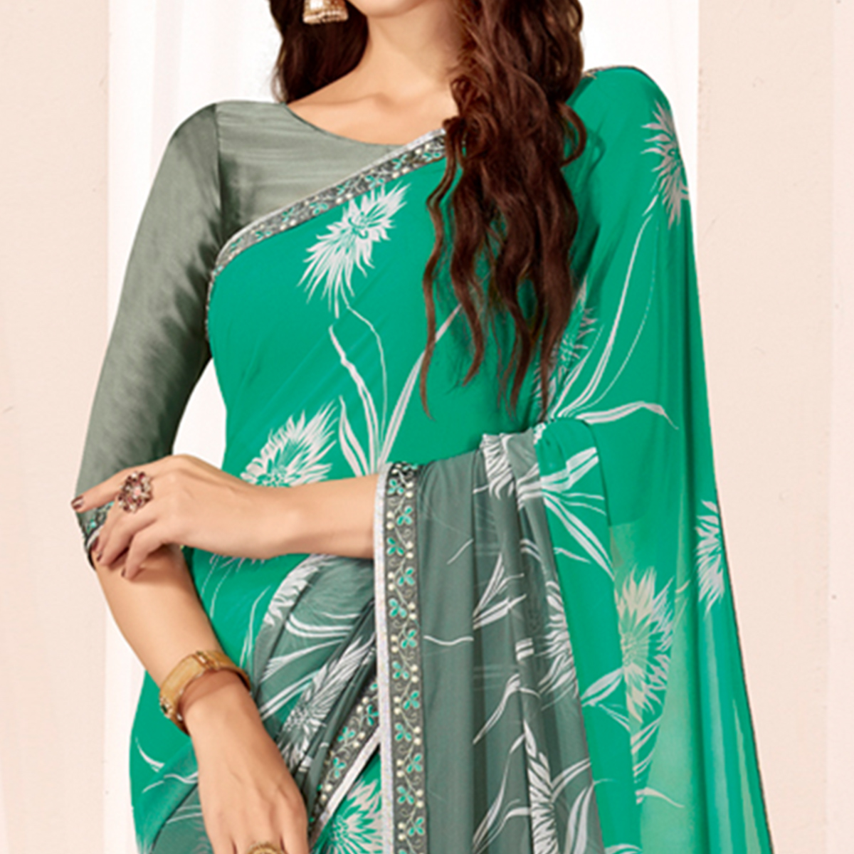 Blooming Turquoise Green Colored Casual Wear Printed Georgette Saree
