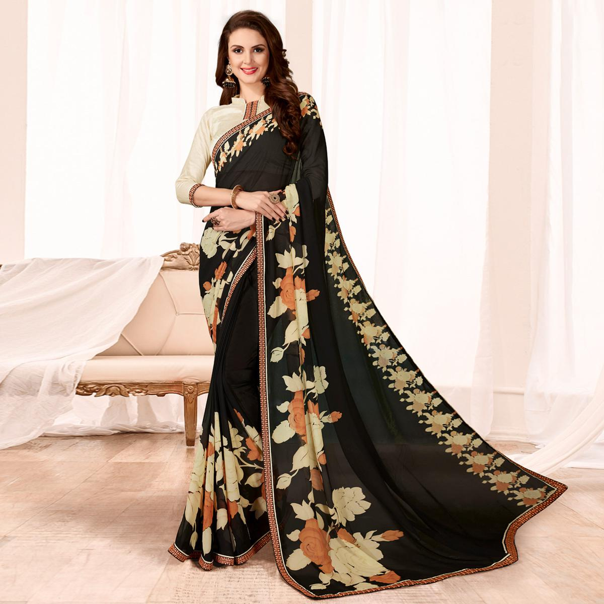 Exotic Black Colored Casual Wear Printed Georgette Saree
