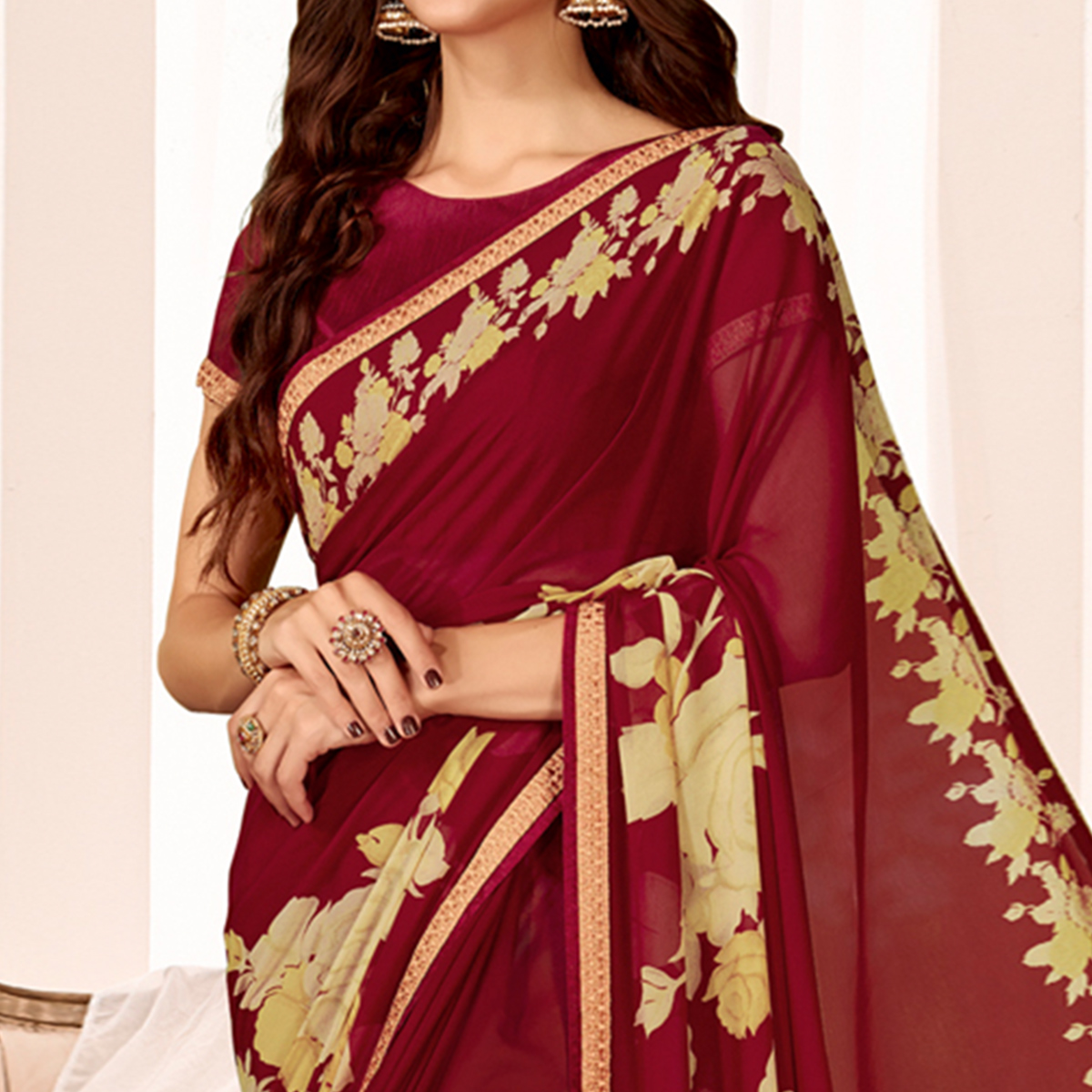 Trendy Maroon Colored Casual Wear Printed Georgette Saree