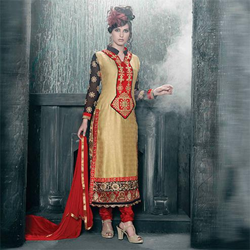 Beige - Red Georgette Churidar Suit