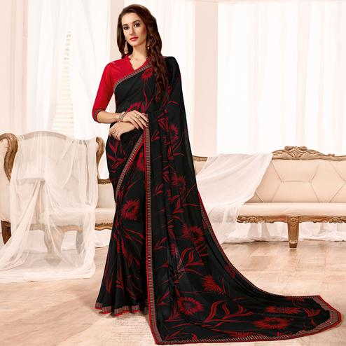 Energetic Black Colored Casual Wear Printed Georgette Saree