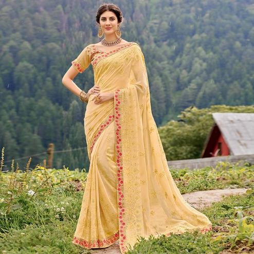 Classy Light Yellow Colored Party Wear Floral Embroidered Georgette Saree