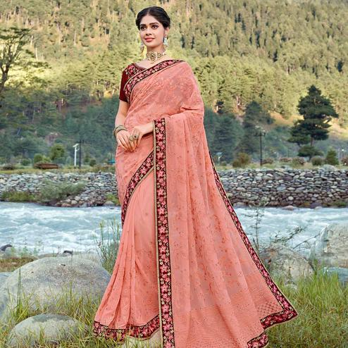 Prominent Peach Colored Party Wear Floral Embroidered Georgette Saree