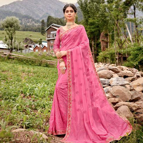 Capricious Pink Colored Party Wear Floral Embroidered Georgette Saree