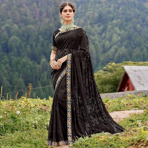 Groovy Black Colored Party Wear Floral Embroidered Georgette Saree