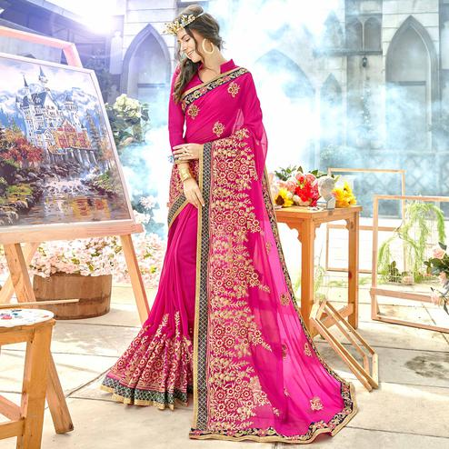 Desirable Rani Pink Colored Party Wear Floral Embroidered Georgette Saree