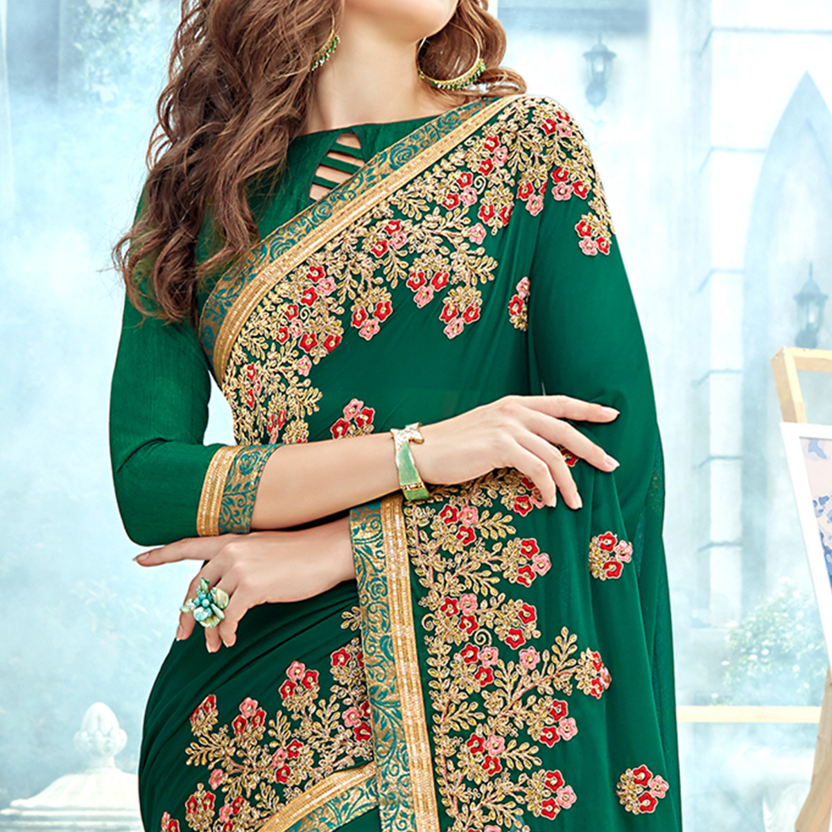 Exotic Green Colored Party Wear Floral Embroidered Georgette Saree