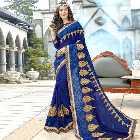 Trendy Navy Blue Colored Party Wear Floral Embroidered Georgette Saree