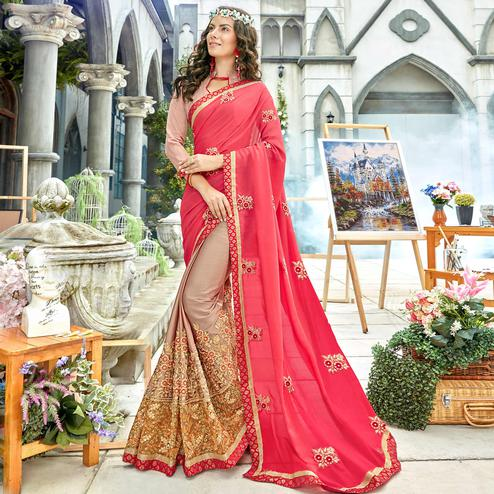 Elegant Pink Colored Party Wear Floral Embroidered Georgette Half-Half Saree