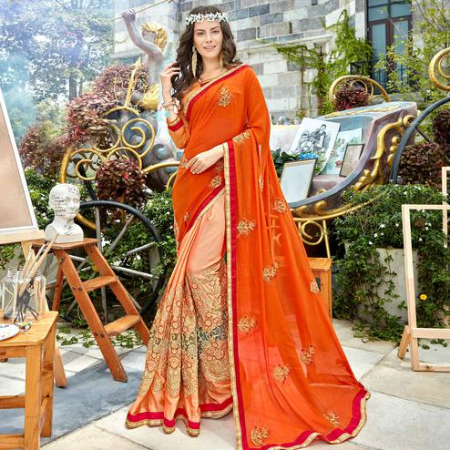 Pleasant Orange-Peach Colored Party Wear Floral Embroidered Georgette Half-Half Saree