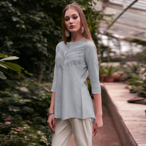 Graceful Grey Colored Casual Wear Schiffli Embroidered Rayon Top