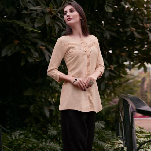 Jazzy Beige Colored Casual Wear Schiffli Embroidered Rayon Top