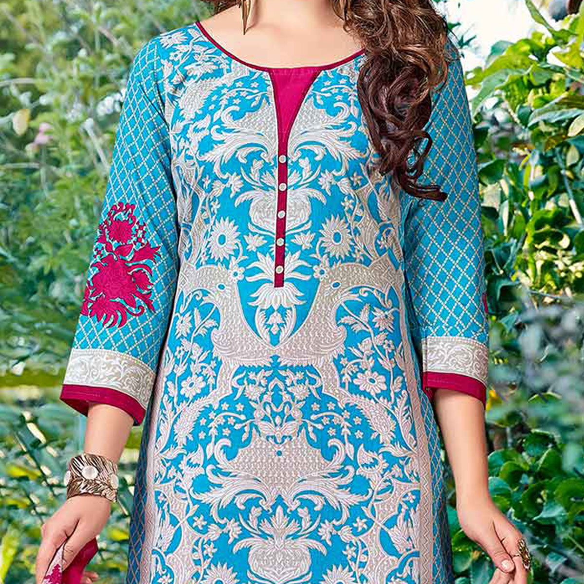 Sky Blue - Pink Printed Pure cotton Suit