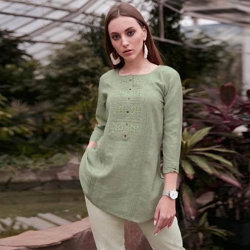 Elegant Mint Green Colored Casual Wear Schiffli Embroidered Rayon Top