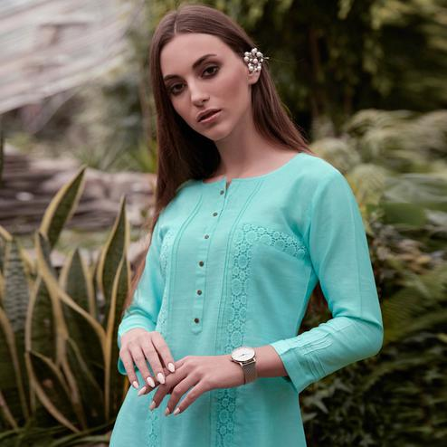 Pleasant Aqua Blue Colored Casual Wear Schiffli Embroidered Rayon Top