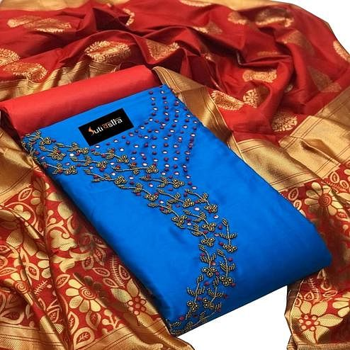 Hypnotic Blue Colored Partywear Handwork Cotton Silk Dress Material