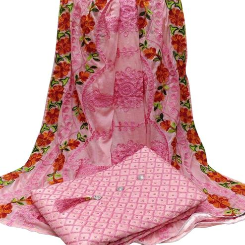 Flattering Pink Colored Partywear Embroidered Modal Dress Material
